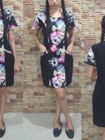 3 Size= M,L,XL เดรสผ้า Cotton เป็นผ้าแบบยืด UNIQLO ตัดต่อด้านหน้า และแขนด้วยผ้า ลวดลายดอก