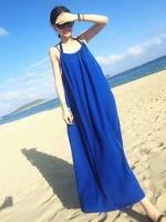 ชุดเดรสยาวใส่ไปเที่ยวทะเลสีน้ำเงิน สายเดียว ทรงหลวม ใส่ไปทะเล สบายๆ