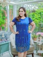3 Size= ,2XL,3XL,4XL, ชุดเดรสสาวอวบ++ ผ้าชีฟองฉลุลายสีน้ำเงิน นำเข้าจากญี่ปุ่น แขนชีฟองระบาย 2 ชั้น