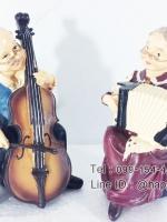 ของขวัญตกแต่งบ้านใหม่ ตุ๊กตาเรซิ่นรุ่นตายายบรรเลงดนตรี