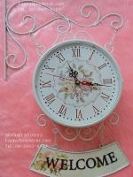 นาฬิกาแขวนผนัง ติดผนังตกแต่งบ้านสไตล์วินเทจ ห้อยด้วยป้าย Welcome