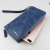 WL07-Blue กระเป๋าสตางค์ใบยาว กระเป๋าสตางค์ผู้ชาย หนัง PU สีน้ำเงิน