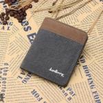 WS02-Gray แนวตั้ง กระเป๋าสตางค์ใบสั้น กระเป๋าสตางค์ผู้ชาย ผ้าแคนวาส สีเทา