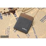 ( ลดล้างสต๊อค ) WS02-Gray แนวตั้ง กระเป๋าสตางค์ใบสั้น กระเป๋าสตางค์ผู้ชาย ผ้าแคนวาส สีเทา