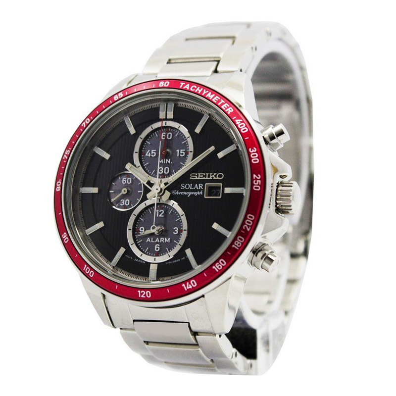 นาฬิกา Seiko Men Chronograph Solar System Black Red SSC433P