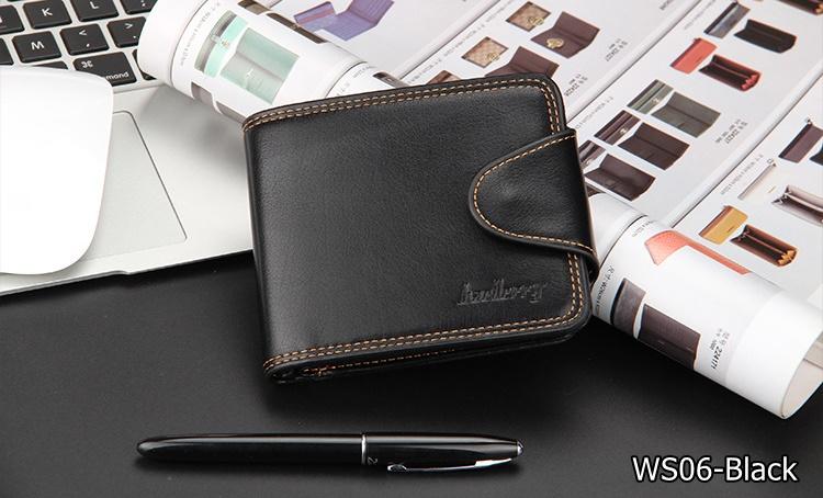 ( ลดล้างสต๊อค ) WS06-Black กระเป๋าสตางค์ใบสั้น แนวนอน กระเป๋าสตางค์ผู้ชาย หนัง PU เกรดเอ สีดำ