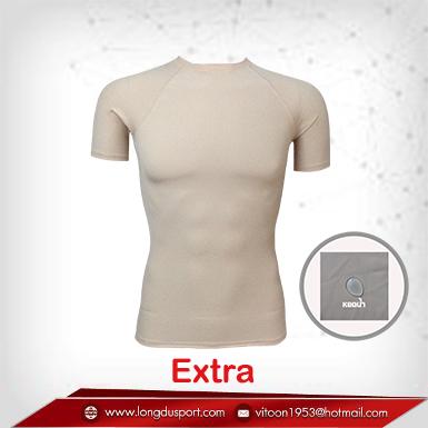 เสื้อรัดกล้ามเนื้อ Body Fit แขนสั้น คอกลม สีเนื้อ wheat รุ่น extra(สุดยอดผ้ายืดผิวผ้าลื่น)