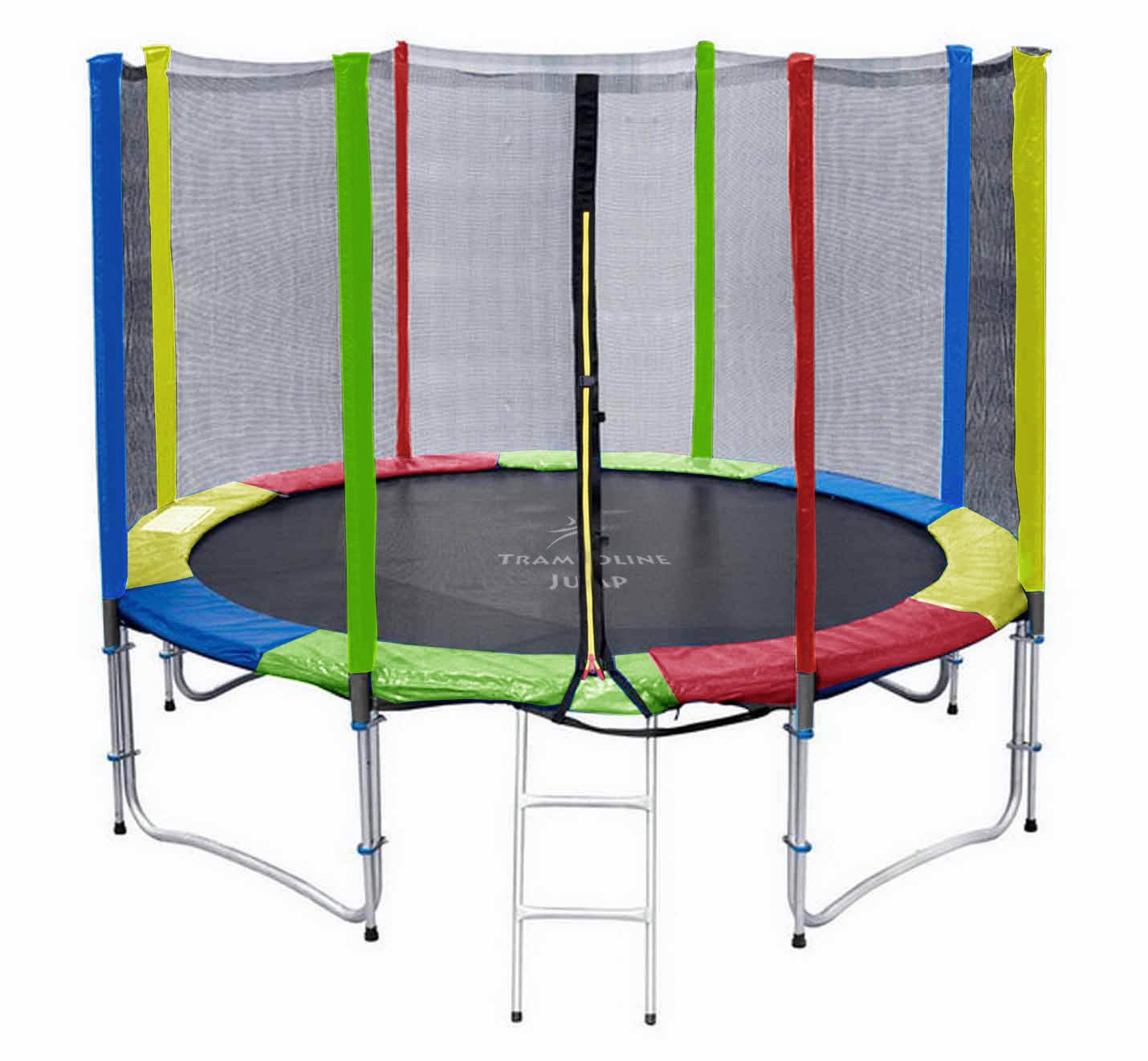แทรมโพลีน 12 ฟุต สีรุ้ง เสารุ้ง สปริงบอร์ด trampoline เครื่องออกกำลังกายเพิ่มความสูง สำหรับ 5 คน
