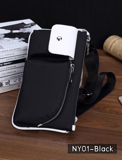 NY01-Black กระเป๋าคาดอก กระเป๋าคาดเอว ผ้าไนลอน สีดำ