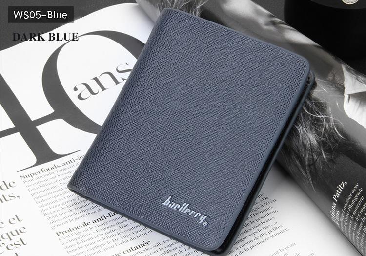 ( ลดล้างสต๊อค ) WS05-Blue กระเป๋าสตางค์ใบสั้น แนวตั้ง กระเป๋าสตางค์ผู้ชาย หนัง PU เกรดเอ สีน้ำเงิน