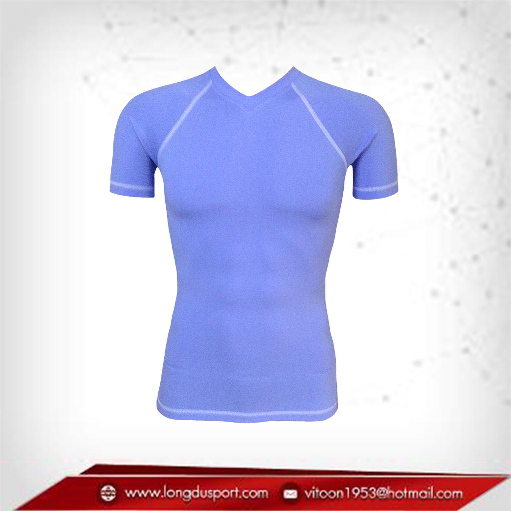 เสื้อรัดกล้ามเนื้อ Bodyfit แขนสั้นคอวี สีฟ้า lightblue