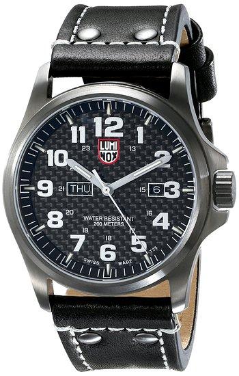 Luminox Men's A.1921 'Atacama' Carbon Fiber Dial Black Leather Strap Quartz Watch
