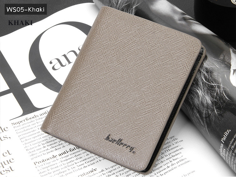 ( ลดล้างสต๊อค ) WS05-Khaki กระเป๋าสตางค์ใบสั้น แนวตั้ง กระเป๋าสตางค์ผู้ชาย หนัง PU เกรดเอ สีกากี