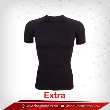 เสื้อรัดกล้ามเนื้อ Body Fit แขนสั้นคอกลมสีดำ รุ่น Extra สุดยอกผ้ายืด (Size พิเศษ 2XLสินค้าหมดชั่วคราว)
