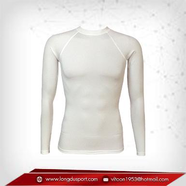เสื้อรัดกล้ามเนื้อ แขนยาวคอกลม สีขาว