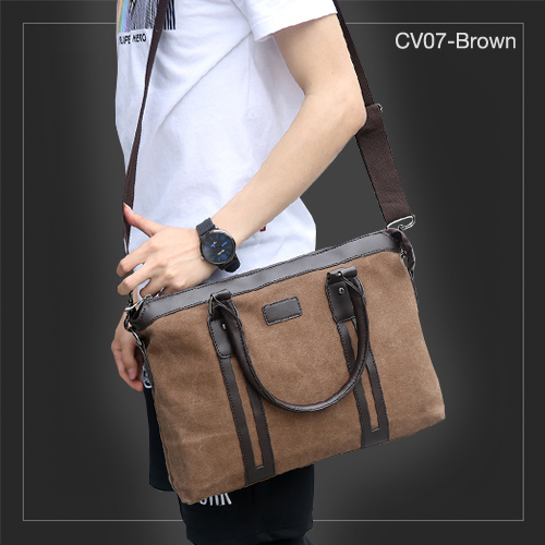 CV07-Brown กระเป๋าถือผู้ชาย + สะพายข้าง ผ้าแคนวาส สีน้ำตาล