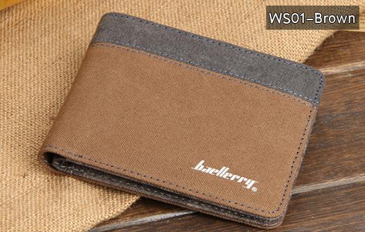 ( ลดล้างสต๊อค ) WS01-Brown แนวนอน กระเป๋าสตางค์ใบสั้น กระเป๋าสตางค์ผู้ชาย ผ้าแคนวาส สีน้ำตาล