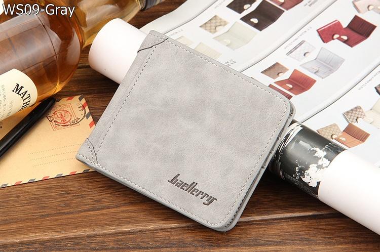 ( ลดล้างสต๊อค ) WS09-Gray กระเป๋าสตางค์ใบสั้น แนวนอน กระเป๋าสตางค์ผู้ชาย หนัง PU เกรดเอ สีเทา