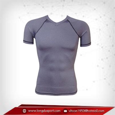เสื้อรัดกล้ามเนื้อ Bodyfit แขนสั้นคอวี สีเทา gray