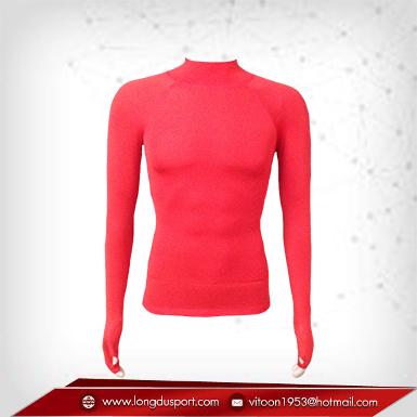 เสื้อรัดกล้ามเนื้อ รุ่นนิ้วสอด สีแดง