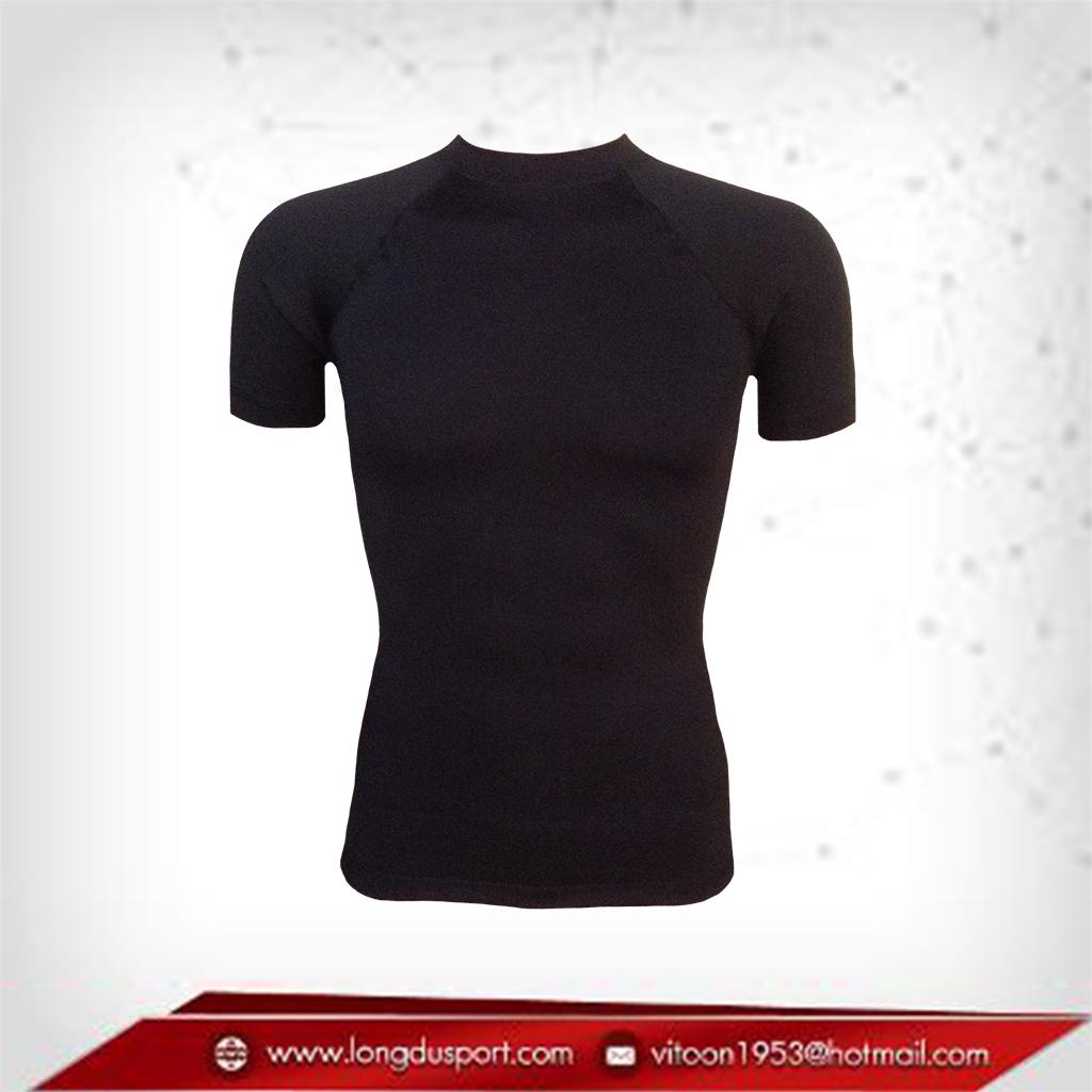 เสื้อรัดกล้ามเนื้อ Body Fit แขนสั้น คอกลม สีดำ เหลือ Size M L