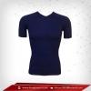 เสื้อรัดกล้ามเนื้อ Body Fit แขนสั้น คอวี สีน้ำเงินเข้ม midnightblue