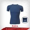 เสื้อรัดกล้ามเนื้อ Bodyfit แขนสั้นคอกลม สีเทา-น้ำเงิน Royalblue รุ่น extra (สุดยอดผ้ายืดผิวผ้าลื่น)