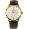 Orient Automatic White Dial Gold Tone Leather Strap FER24003W