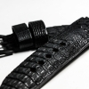 Black Genuine Leather Horn Black Crocodile Leather Watch Strap Pam Buckle 24/20 mm