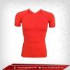 เสื้อรัดกล้ามเนื้อ Body Fit แขนสั้น คอวี สีแดง