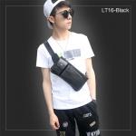 LT16-Black กระเป๋าคาดอก กระเป๋าคาดเอว หนัง PU สีดำ