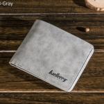 WS08-Gray กระเป๋าสตางค์ใบสั้น แนวนอน กระเป๋าสตางค์ผู้ชาย หนัง PU เกรดเอ สีเทา