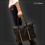 LT41-Black กระเป๋าถือผู้ชาย + สะพายข้าง หนัง PU สีดำ