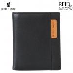SEVEN WAYO กระเป๋าสตางค์ผู้ชายหนังแท้ RFID Blocking กระเป๋าสตางค์ใบสั้น แนวตั้ง สีดำ กระเป๋าเงิน กระเป๋าถือ SW01-Black