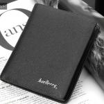 WS05-Black กระเป๋าสตางค์ใบสั้น แนวตั้ง กระเป๋าสตางค์ผู้ชาย หนัง PU เกรดเอ สีดำ
