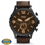 นาฬิกา FOSSIL JR1487 Men Watch Chronograph Leather Strap Chronograph 50 mm