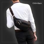 CV04-Black กระเป๋าคาดอก กระเป๋าคาดเอว ผ้าแคนวาส สีดำ