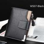 ( ลดล้างสต๊อค ) WS07-Black กระเป๋าสตางค์ใบสั้น แนวตั้ง กระเป๋าสตางค์ผู้ชาย หนัง PU เกรดเอ สีดำ