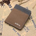 ( ลดล้างสต๊อค ) WS02-Brown แนวตั้ง กระเป๋าสตางค์ใบสั้น กระเป๋าสตางค์ผู้ชาย ผ้าแคนวาส สีน้ำตาล