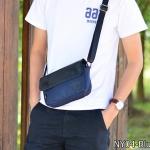NY04-Blue กระเป๋าสะพายข้าง ผ้า Oxford ผสมหนัง สีน้ำเงิน Three box