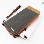 ( ลดล้างสต๊อค ) WL02-Gray กระเป๋าสตางค์ใบยาว กระเป๋าสตางค์ผู้ชาย ผ้าแคนวาส สีเทา