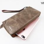 ( ลดล้างสต๊อค ) WL07-Choco กระเป๋าสตางค์ใบยาว กระเป๋าสตางค์ผู้ชาย หนัง PU สีช็อกโกแลต