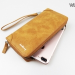 ( ลดล้างสต๊อค ) WL07-Brown กระเป๋าสตางค์ใบยาว กระเป๋าสตางค์ผู้ชาย หนัง PU สีน้ำตาล
